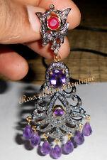 ART DECO 3.44ct ANTIQUE ROSE CUT DIAMOND AMETHYST RUBY VICTORIAN DANGLE EARRINGS