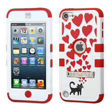 iPod Touch 5th / 6th Gen -CAT RED HEARTS Hard&Soft Rubber Hybrid Armor Case Skin