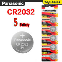 5 Pcs Panasonic CR2032 Button Cell Lithium Battery 3V. EXP. 2030