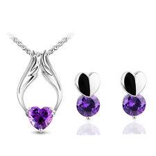 Purple Zircon Angel Hearts Romantic Jewellery Set Stud Earrings & Necklace S502