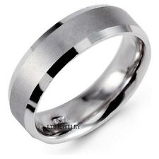 10K Echt Weißgold Ehering, Satin Ausführung Schrägkante Herren Hochzeit Ring
