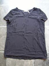 BNWNT Women's Black V-Neck With Cutout Flowers Short Sleeve Top Size 10