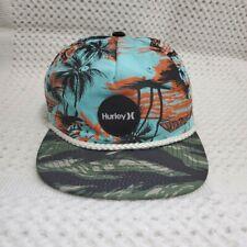 Hurley Snapback Hat Aqua Blue Hawaiian Surf Beach Palm Trees Camo