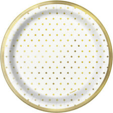 "8 x 7"" Elegant Gold Foil Dots Paper Plates Party Tableware Supplies Anniversary"
