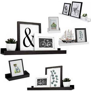 Set of 3 Floating Wall Shelves Picture Ledge Display Rack Book Hanging Shelf