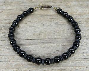 Mens Bracelet - Unisex Black Onyx Bracelet with Spacer Rings