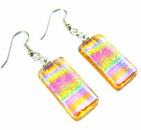 """DICHROIC Glass EARRINGS Pink Rainbow Tie Dye Patterned Amber Dangle Surgical 1"""""""