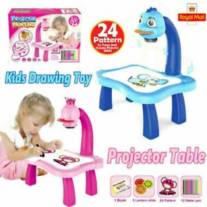 UK Kids Projector Painting Learning Drawing Table Light Music Toys Xmas Gifts