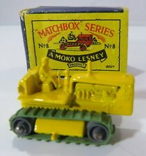 Vintage Boxed Moko Lesney Matchbox Diecast Yellow Caterpillar Tractor (No. 8)