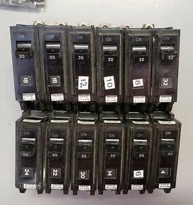 12 QTY GE THQB1130 30 Amp, Circuit Breakers