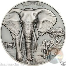 Elephant Proof Tusks Antique Finish - 1 oz silver HiRe Minted Coin-2016 Tanzania