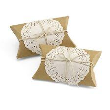 Kraft Pillow Box Kit w/ Lace and Jute Twine Wedding Favor Boxes 12/pk