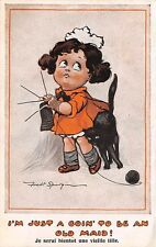 ARTIST FRED SPURGIN COMIC IMAGE, GIRL WITH HER CAT KNITTING, c. 1904-14