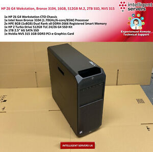 HP Z6 G4 Workstation, Bronze 3104, 16GB DDR4, 512GB M.2, 2TB SSD, Quadro NVS 315