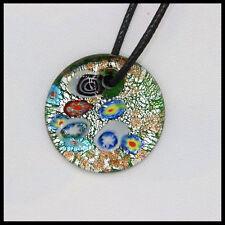 Fashion Women's round lampwork Murano art glass beaded pendant necklace #A37