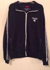 Nautica Jeans Co. 2 Stripe Blue And White Zipper Track Jacket - XL