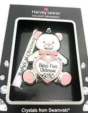 2020 Harvey Lewis Pink Baby Girl 1st Christmas Ornament Bear Swarovski Crystals