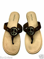 Minnetonka Thong Peace Sign Women's Suede  Brown Slippers Size 10 Us