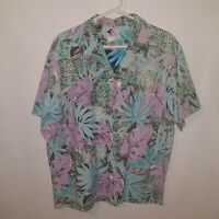 Vtg Nui Nalu Mens Hawaiian Shirt Reverse Print Floral XXL 2XL USA Made Aloha