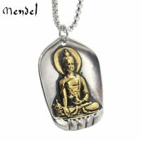 MENDEL Vintage Gold Tibetan Thai Amulet Buddha Pendant Necklace Stainless Steel