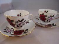 Colclough Amoretta Rose Tea Cups & Saucers x 2 Bone China Red White British