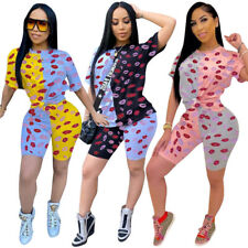New Stylish Women's O Neck Colorful Lips Print Short Sleeves Jumpsuit 2pcs Sport