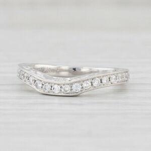 Neil Lane Diamond Wedding Band 14k White Gold Size 5 Contoured Floral Ring