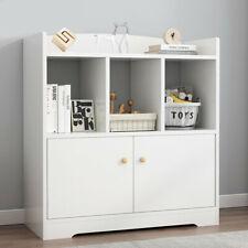 Wide Bookcase w/ Doors Multimedia Storage Cabinet Dvd Rack Home Study Bookshelf