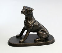 9937259 Cast Iron Figure Dog Boxer Seated 18x14cm