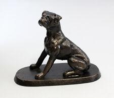 9937259 Cast Iron Figure Dog Boxer Seated 18x14cm