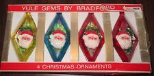 YULE GEMS by BRADFORD PLASTIC CHRISTMAS ORNAMENTS IN BOX * ALL SANTA CLAUS