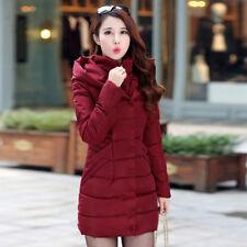 Women Winter Hooded Cotton Padded Down Jacket Outwear Long Puffer Coat Parka