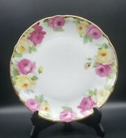 "Porcelain Multicolor Roses 9.5"" Dinner Plate Hand Gilded Edge Vintage Chic"