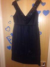 Zara Woman Stunning Black Satin Like Party Dress small Ladies
