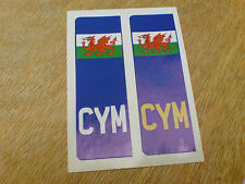 NUMBER PLATE WALES Welsh Dragon Europlate Car Van Stickers Decals 2 off 104mm