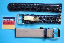 Auténtico Cocodrilo Banda 20mm Azul Oscuro Deutscher Hersteller