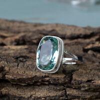 Apatite Quartz 925 Sterling Silver Artisan Handmade Cushion Gift Ring