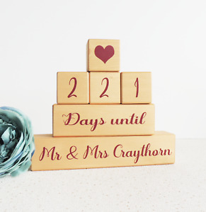 wedding countdown, gold and red, personalised wedding calender, countdown blocks