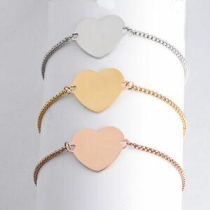 Engraved Heart Slider Bracelet Womens Girls Personalised Jewellery Birthday Gift