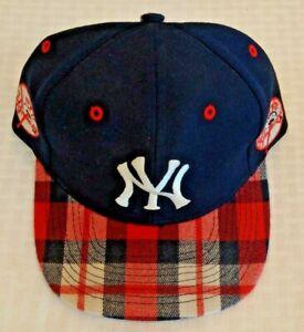 Vintage 1990s ANNCO Yankees Baseball Hat Cap New Plaid MLB Snapback Jeter Posada