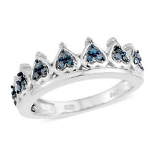 BLUE DIAMOND  HEART SHAPE STERLING SILVER CROWN PRINCESS PRINCE DIAMOND RING 7