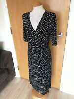 Ladies Dress Size 14 M&S Black Spotted Faux Wrap Stretch Smart Casual Day Party