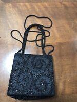 VINTAGE LA REGALE BEADED EVENING Bag CROSS BODY BLACK Shoulder Handle Handbag