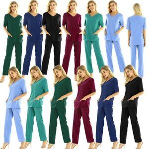 2Pcs Unisex Medical Doctor Nursing Scrub Set Top Long Pants Hospital Uniform