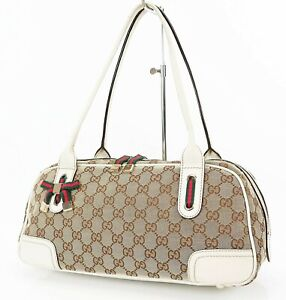 Authentic GUCCI Brown GG Canvas and Off White Leather Shoulder Tote Bag #37319