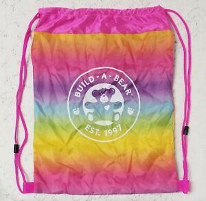 Build-A-Bear BAB Tie Dye Rainbow Drawstring Mesh Cinch Bag Backpack Tote