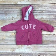 Joe Fresh Baby Girl Hoodie Zip Front Sherpa Fleece Lined Embroidered Cute 12-18M