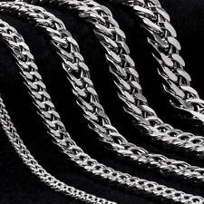mujeres hombres de plata Curb cadena cubana pulsera de acero inoxidable