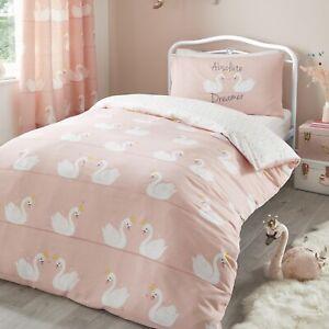 Swans Girls Toddler Junior Cot Bed Duvet Cover Quilt Bedding Bed Set Coral Pink