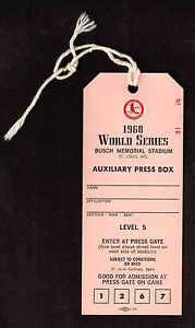1968 WORLD SERIES AUXILIARY PRESS BOX PASS ST LOUIS CARDINALS